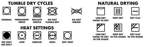 洗衣店洗涤的标志,烘干的象 皇族释放例证