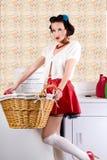 洗衣店pinup妇女 免版税库存照片