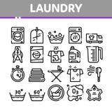 洗衣服务传染媒介稀薄的线象集合 库存例证