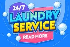 洗衣服务洗涤的衣物纺织品印刷术横幅 洗涤衣裳的杂物间 自动洗衣店商业机构 皇族释放例证