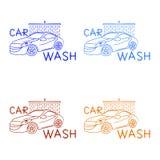 洗车商标用在白色背景,集合的不同的颜色 库存例证
