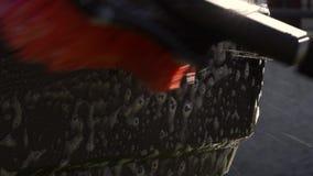 洗车灰色肮脏的红色刷子水 影视素材
