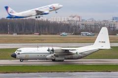洛克西德・马丁C-130J-30赫拉克勒斯 普尔科沃机场,俄罗斯,圣彼德堡, 2018年4月30日 库存图片