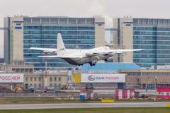 洛克西德・马丁C-130J-30赫拉克勒斯 普尔科沃机场,俄罗斯,圣彼德堡, 2018年4月30日 免版税库存照片