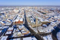洛厄尔香港大会堂鸟瞰图,马萨诸塞,美国 库存照片