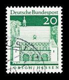 洛尔施,黑森,德国大厦警卫室从十二个世纪,大号serie,大约1967年 库存图片