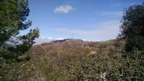 洛杉矶加利福尼亚山顶视图有森林和轻的云层的 库存照片