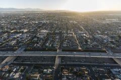 洛杉矶在第52条街道的港口110高速公路 库存照片