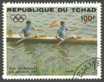 洛杉矶夏季奥运会,划皮船 库存图片