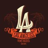 洛杉矶字法T恤杉设计 也corel凹道例证向量 免版税库存照片