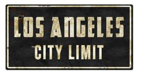 洛杉矶市区范围减速火箭的标志 库存图片