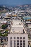 洛杉矶摩天大楼的屋顶  库存图片