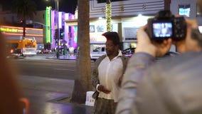 洛杉矶,美国- 2019年5月9日:名望好莱坞步行  股票录像