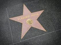 洛杉矶, 2014年11月, 14日:对俄罗斯弗拉基米尔・普京总统世界的好莱坞星光大道星多数强有力的政客超级sta 免版税库存照片