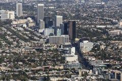 洛杉矶Wilshire大道奇迹英里鸟瞰图 免版税库存图片