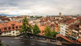 洛桑老镇,洛桑,瑞士,欧洲顶视图  免版税图库摄影