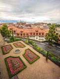 洛桑老镇,洛桑,瑞士,欧洲顶视图  库存照片