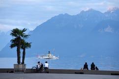 洛桑,瑞士- 2017年6月05日:堤防的人们 免版税库存照片