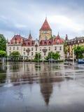 洛桑Ouchy都市风景,旅馆大别墅d ` Ouchy,洛桑,瑞士,欧洲 库存照片