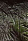 洞edakkal刻在岩石上的文字 库存图片