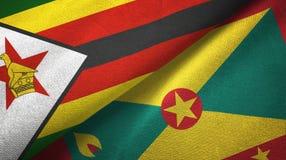津巴布韦和格林纳达两旗子纺织品布料,织品纹理 向量例证