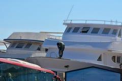 洪加达,埃及, 1月-工作在海岸的一条游艇 图库摄影