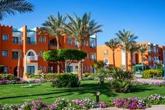 洪加达,埃及2010年2月22日:豪华旅游胜地旅馆门面在埃及 免版税库存照片