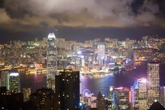 洪孔7月13日2017年:香港地标和维多利亚港口 免版税库存图片