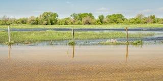 洪水区域在内布拉斯加 免版税库存照片