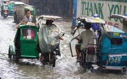 洪水在马尼拉,菲律宾 图库摄影