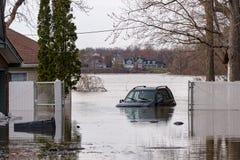 洪水在魁北克春天2019年 库存照片