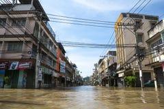 洪水情况在城市 免版税库存图片