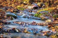 洪水涌出通过五颜六色的秋叶和被击倒的分支围拢的一个intersting的管子 库存图片