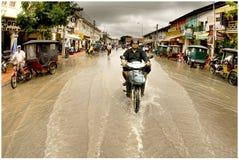 洪水街道城镇 库存照片