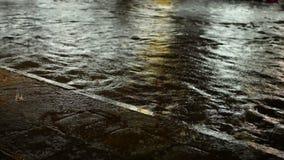 洪水路和小径在夜降雨量 影视素材