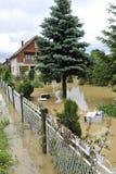 洪水,被充斥的房子的后果 免版税库存照片
