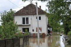 洪水,被充斥的房子的后果 库存图片