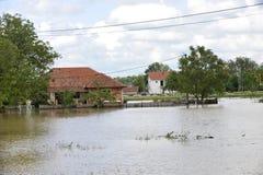 洪水,被充斥的房子的后果 免版税图库摄影