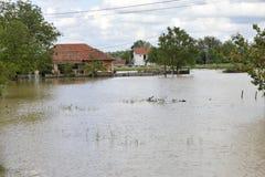 洪水,被充斥的房子的后果 库存照片