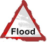 洪水grunge符号 免版税图库摄影