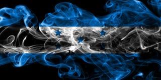 洪都拉斯在黑背景的烟旗子 库存照片