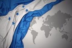 洪都拉斯的挥动的五颜六色的国旗 库存照片