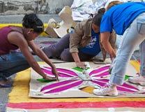 洪都拉斯Semana圣诞老人, Alfombra钢板蜡纸 免版税库存照片