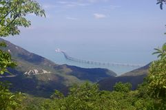 """洪Kong†""""Zhuhai†""""澳门桥梁在Lantau 免版税库存图片"""