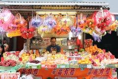 洪KONG- 2018-Kawloon 2月19日, -卖ve的果子供营商 免版税库存照片