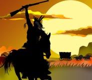 活动印第安van西部的warrior 向量例证