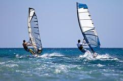 活动的二个风帆冲浪者 图库摄影