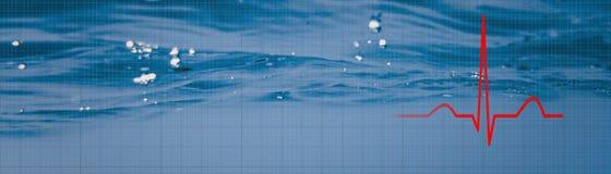 活动 心脏节奏EKG, ECG水下的背景 健康C 图库摄影