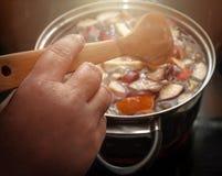 活泼的五颜六色的苹果计算机切片,在一个罐的果子混合有木匙子的 刷新的果子苹果汁拳打党饮料 温暖的焕发 免版税图库摄影
