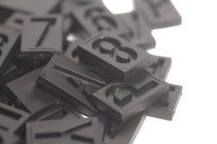 活版字母表和数字背景 免版税库存图片
